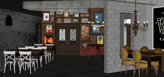 Interior do Pub | Simulação de Fábio Spier, arquiteto