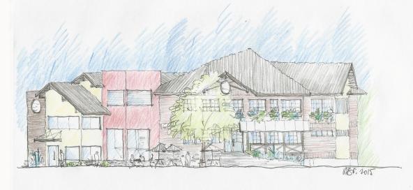 Croqui Pub Edelbrau |Desenho de Karin Brakermeier, arquiteta